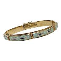 Native American Crafted Bracelet 14K Gold Opal & Sugalite, Raymond Quam, Zuni