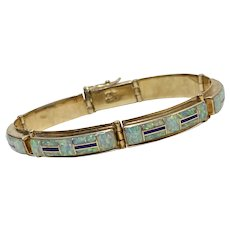 Native American Crafted Bracelet 14K Gold Opal & Sugalite, Raymond Quam, Zuni