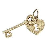 Heart Lock & Key Vintage Charms 14K Gold Three-Dimensional