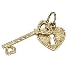 Heart Lock & Key Vintage Charms 14K Gold Three-Dimensional