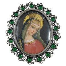 Miniature Portrait Brooch/Pendant MADONNA Chrysoprase 800 Silver