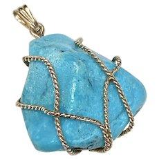 Turquoise Vintage Pendant 10 & 14K Gold, Organic Rough Polished Rock