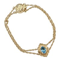 Starter Slide Bracelet 14K Gold With London Blue Topaz Slide