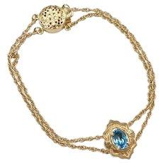 Starter Slide Bracelet 14K Gold With London Blue Topaz Slide