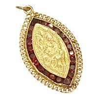 Garnet Vintage Locket 3.20 ctw, 14K Gold, Navette Floral Engraved
