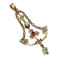 Victorian Lavaliere Pendant 14K Gold Seed Pearl, Garnet & White Sapphire