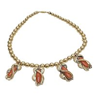 Navajo Crafted Necklace 14K Gold Red Coral by Kirt Smith, Native American