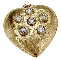 Fat Puffy Heart Vintage Charm / Pendant Diamond Accent .24 ctw