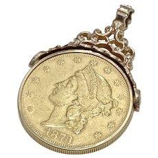 US Gold $20 Liberty Double Eagle 1873 Pendant Ornate 10K Rose Gold Bale