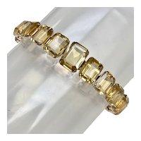 Citrine Vintage Bracelet 10K Rose Gold, Twenty Gemstones 90 Carats