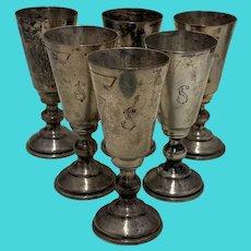 Set of 6 Cordial or Liquor Shots 800 Silver S Monogram, Art Deco