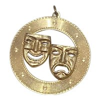 Large Theatrical Mask Vintage Charm 14K Gold, Comedy & Tragedy