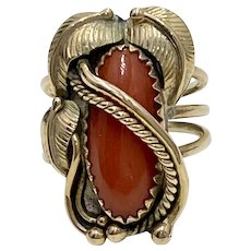 Navajo Crafted Ring 14K Gold & Red Coral Kirk Smith, Native American