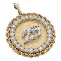 Big Jeweled Charm Anniversary / Birthday 14K Gold, Diamond & Cultured Pearl