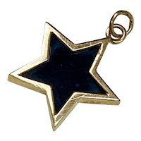 Onyx STAR Vintage Charm 14K Gold Three-Dimensional