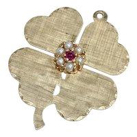 Big Jeweled Four Leaf Clover Vintage Charm 14K Gold Cultured Pearl & Ruby