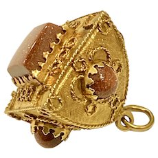 Big Jeweled Bauble Charm 18K Gold & Goldstone