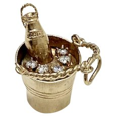 Moving Champagne in Ice Bucket Vintage Charm Diamond & 14K Gold