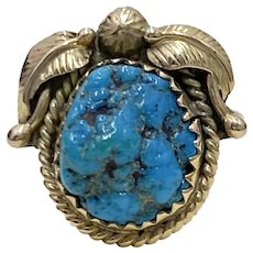 Navajo Crafted Ring 14K Gold & Seafoam Turquoise, Kirk Smith, Native American