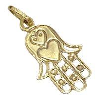 Hamsa Hand Vintage Charm 18k Gold, Protective Amulet, Heart Accent