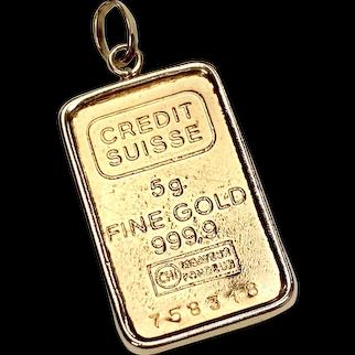 Fine Gold Bar Credit Suisse Charm/Pendant in 14K Gold Frame