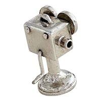 Moving Movie Camera Vintage Charm Sterling Silver Three-Dimensional