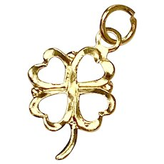 Tiny Four Leaf Clover Charm 14K Gold, Shamrock