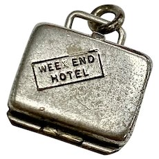 Opening Suitcase w/ Enameled Pajamas Vintage Charm Sterling Silver