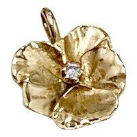 Art Nouveau Pansy Pendant Charm Diamond Accent 14K Gold