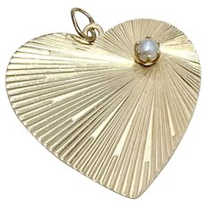 Big Heart Vintage Charm 14K Gold Cultured Pearl Accent