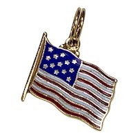 American Flag Vintage Charm 14K Gold Enameled, USA, United States