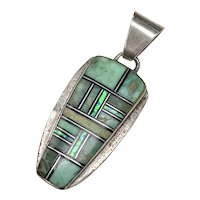 Native American Pendant Colorful Intarsia Sterling Silver Green Turquoise & Opal