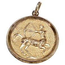 Sagittarius Zodiac Astrology Vintage Charm 14K Gold