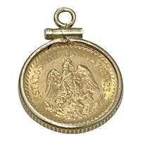 Dos Pesos Gold Coin Charm in 14K Gold Frame