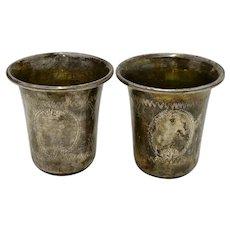 Set of 2 Vintage Kiddish Cups, Shots Sterling Silver