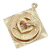 To Mother Jeweled Charm 14K Gold ~ Love Your Son 1964