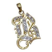 Diamond Encrusted Letter B Pendant/Charm 14K Two-Tone Gold
