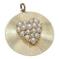 Big Vintage Charm Pearl Encrusted Heart 14K Gold