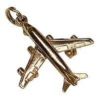 Jet Airliner Vintage Charm 14K Gold Three-Dimensional, Airplane, Transportation