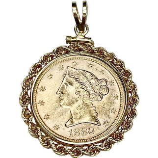 US Gold Coin $5 Liberty Head c.1880 in 14K Gold Pendant