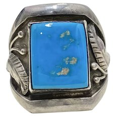 Native American Crafted Ring Blue Turquoise & Sterling Silver, Joe Chee, Navajo