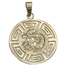 Reversible Dragon / Happiness Vintage Charm / Pendant 14K Gold