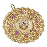Big Jeweled Charm 14K Gold Ruby & Cultured Pearl, Ornate Design