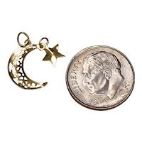Celestial Moving Vintage Charm 14K Gold, Crescent Moon & Star