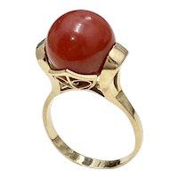 Red Coral Vintage Ring 18K Gold, Unique Modernist Filigree Setting