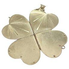 BIG Vintage 4-Way Heart Locket Pendant Charm 14K Gold