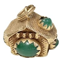 Vintage Jeweled House Charm 18K Gold Faux Emerald circa 1950's