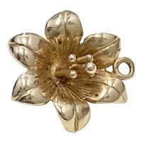 Lily Flower Vintage Charm 14K Gold Three-Dimensional