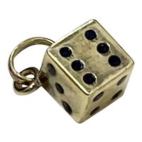 Die / Dice Vintage Charm Three-Dimensional 14K Gold