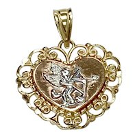 Cupid Heart Vintage Charm 14K Tri-Color Gold